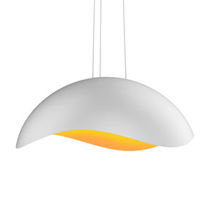 Waveforms Satin White LED Large Dome Pendant with Apricot Interior Shade