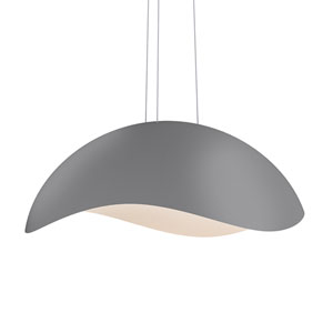 Waveforms Dove Grey LED Large Dome Pendant with White Interior Shade