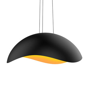 Waveforms Satin Black LED Large Dome Pendant with Apricot Interior Shade