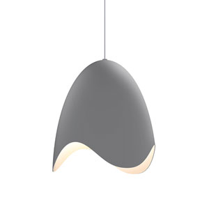 Waveforms Dove Grey LED Small Bell Pendant with White Interior Shade