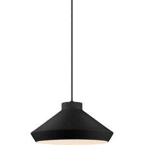 Koma Meiji Satin Black One-Light Pendant with Satin White Interior Shade and Black Silk Covered Cord