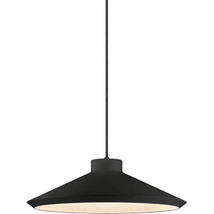 Koma Edo Satin Black One-Light Pendant with Satin White Interior Shade and Black Silk Covered Cord