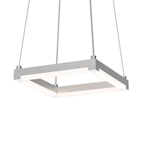 Stix Square Bright Satin Aluminum 9-Inch LED Mini Pendant with Frosted Optical Acrylic Shade