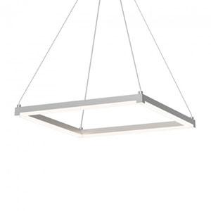 Stix Square Bright Satin Aluminum 19-Inch LED Pendant with Frosted Optical Acrylic Shade
