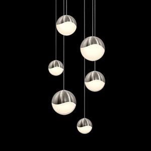 Grapes Satin Nickel 6-Light LED Pendant