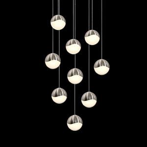 Grapes Satin Nickel 9-Light LED Pendant