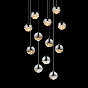 Grapes Polished Chrome 12-Light LED Pendant