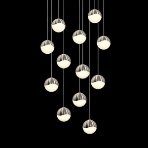 Grapes Satin Nickel 12-Light LED Pendant