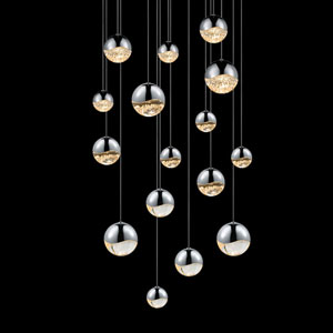 Grapes Polished Chrome 16-Light LED Pendant