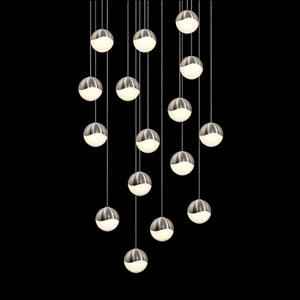 Grapes Satin Nickel 16-Light LED Pendant