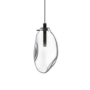 Liquid Satin Black LED Mini Pendant with Clear Glass Shade