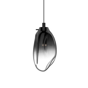 Liquid Satin Black LED Mini Pendant with Smoke Fade Glass Shade