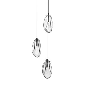 Liquid Satin Black Three-Light LED Cluster Pendant with Clear Glass Shade
