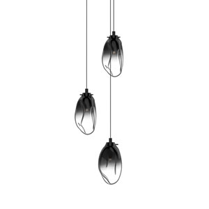 Liquid Satin Black Three-Light LED Cluster Pendant with Smoke Fade Glass Shade
