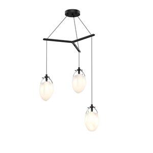 Liquid Satin Black Three-Light Tri-Spreader LED Pendant with Poured White Glass Shade
