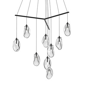 Liquid Satin Black Nine-Light Tri-Spreader LED Pendant with Clear Glass Shade