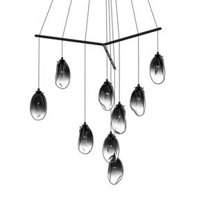 Liquid Satin Black Nine-Light Tri-Spreader LED Pendant with Smoke Fade Glass Shade
