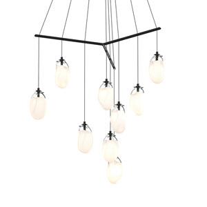 Liquid Satin Black Nine-Light Tri-Spreader LED Pendant with Poured White Glass Shade