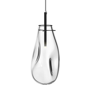 Liquid Satin Black Large LED Pendant with Clear Glass Shade