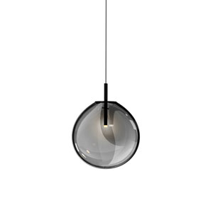 Cantina Satin Black Large LED Pendant with Smoke Fade Glass Shade