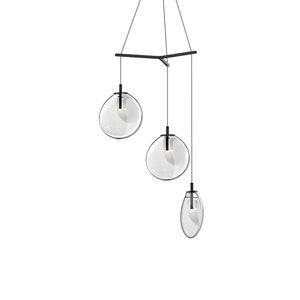 Cantina Satin Black 3-Light Medium Tri-Spreader LED Pendant with Clear Glass Shade