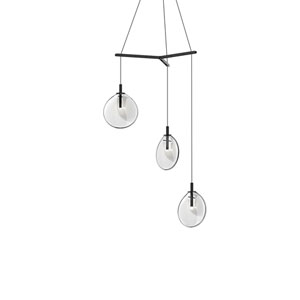 Cantina Satin Black 3-Light Small Tri-Spreader LED Pendant with Clear Glass Shade