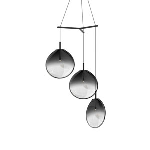 Cantina Satin Black 3-Light Large Tri-Spreader LED Pendant with Smoke Fade Glass Shade