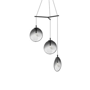 Cantina Satin Black 3-Light Medium Tri-Spreader LED Pendant with Smoke Fade Glass Shade