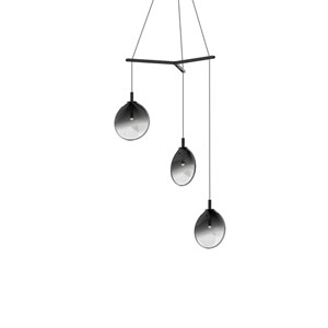 Cantina Satin Black 3-Light Small Tri-Spreader LED Pendant with Smoke Fade Glass Shade