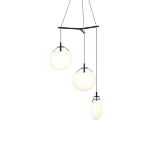 Cantina Satin Black 3-Light Medium Tri-Spreader LED Pendant with Poured White Glass Shade