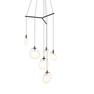 Cantina Satin Black 6-Light Tri-Spreader LED Pendant with Poured White Glass Shade