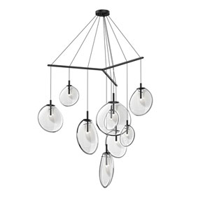 Cantina Satin Black 9-Light Tri-Spreader LED Pendant with Clear Glass Shade