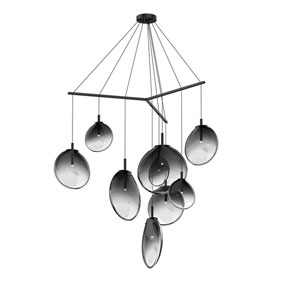 Cantina Satin Black 9-Light Tri-Spreader LED Pendant with Smoke Fade Glass Shade