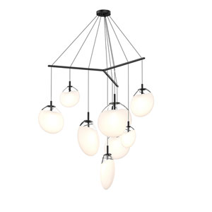 Cantina Satin Black 9-Light Tri-Spreader LED Pendant with Poured White Glass Shade