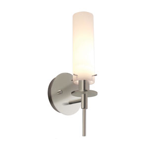 Candle One-Light - Satin Nickel with White Etched Cased Glass - Wall Sconce