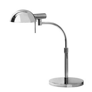 E - Dome One-Light - Polished Chrome with Polished Chrome Metal Shade - Table Lamp