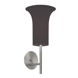 Lightweights Satin Aluminum One-Light Wall Sconce with Black Shade