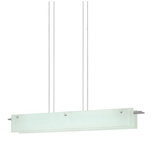 Suspended Glass Slim Satin Nickel LED 44-Inch Pendant