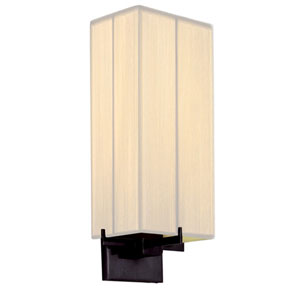 Boxus One-Light - Black Brass with Off - White Silk String Shade - Wall Sconce