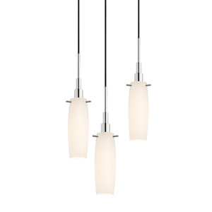 Candela Polished Chrome Three-Light Tulip Pendant with White Etched Cased Shade