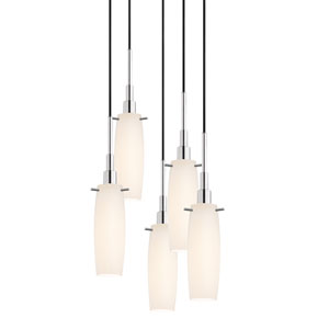 Candela Polished Chrome Five-Light Tulip Pendant with White Etched Cased Shade