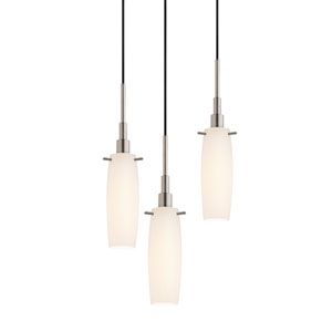 Candela Satin Nickel Three-Light Tulip Pendant with White Etched Cased Shade