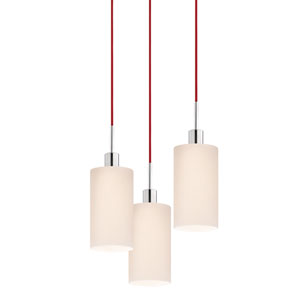Three-Light Polished Chrome Cylinder Pendant with Red Cord and White Etched Cased Shade