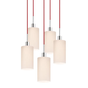Five-Light Polished Chrome Cylinder Pendant with Red Cord and White Etched Cased Shade