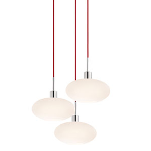 Three-Light Polished Chrome Oval Pendant with Red Cord and White Etched Cased Shade