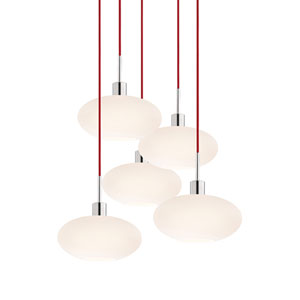 Five-Light Polished Chrome Oval Pendant with Red Cord and White Etched Cased Shade