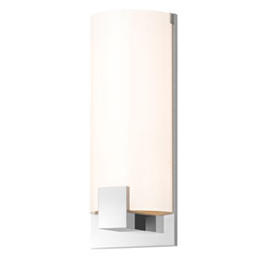 Tangent Polished Chrome Three-Light Square Wall Sconce with White Shade