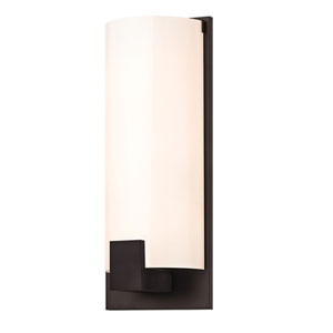 Tangent New Bronze Three-Light Square Wall Sconce with White Shade