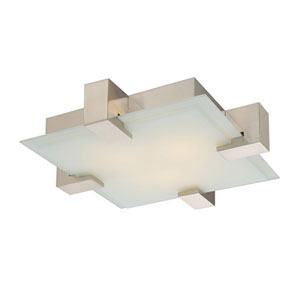 Dakota Satin Nickel Two-Light Flush Mount