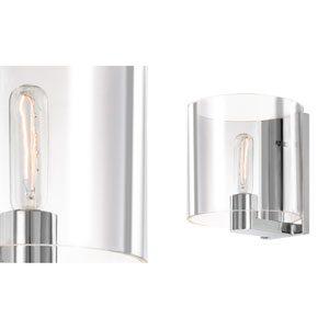 Delano One-Light - Polished Chrome with Clear Glass - Wall Sconce